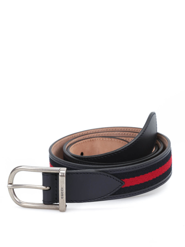 Gucci: belts - Nylon web leather belt with  buckle