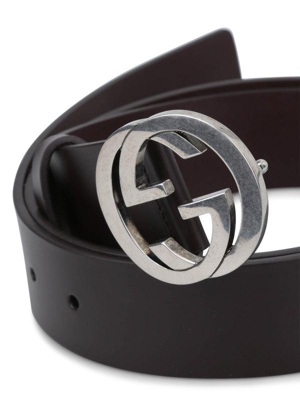 Gucci: belts online - GG buckle leather belt