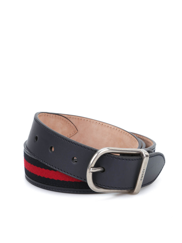 Gucci: belts online - Nylon web leather belt with  buckle