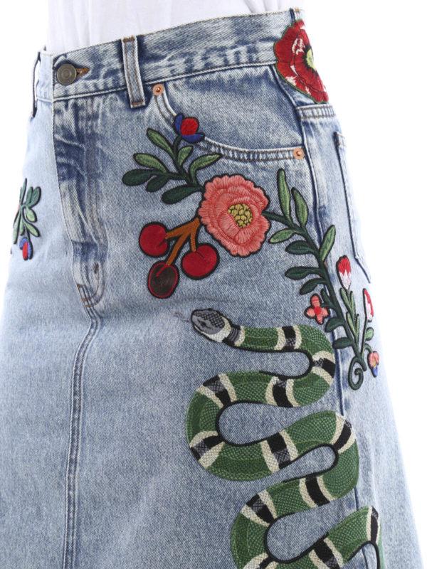 GUCCI buy online Embroidered washed  denim skirt