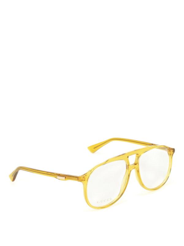 Gucci: glasses - Yellow acetate optical glasses