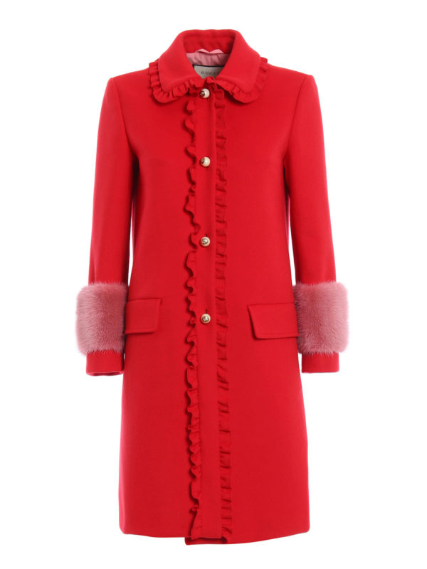 Gucci: knee length coats - Mink fur detailed wool coat