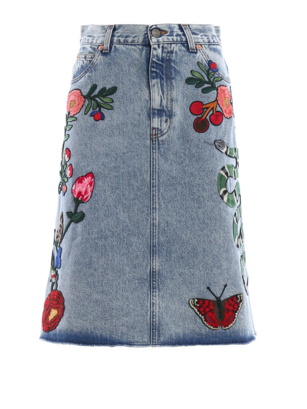 GUCCI: Knee length skirts & Midi - Embroidered washed  denim skirt