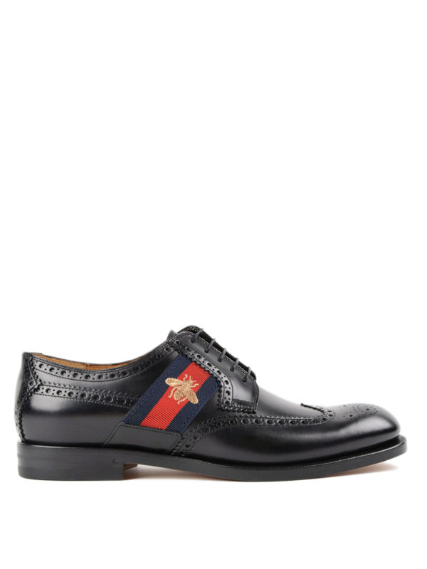 GUCCI: lace-ups shoes - Bee Web brushed leather brogues