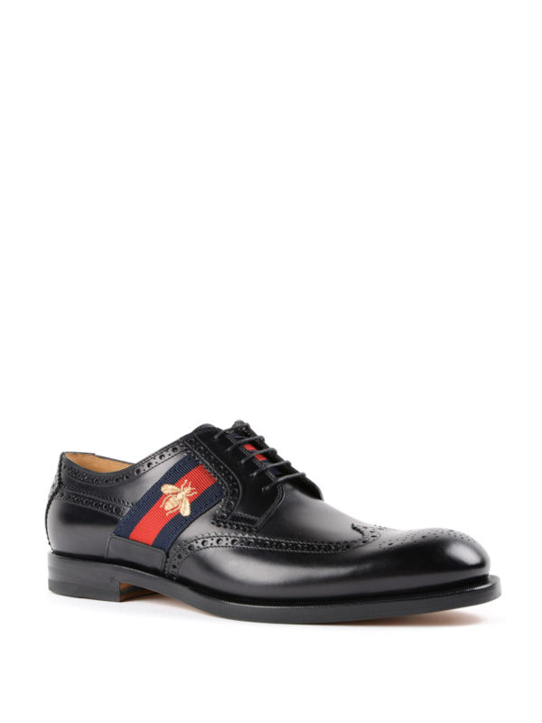 Gucci: lace-ups shoes online - Bee Web brushed leather brogues