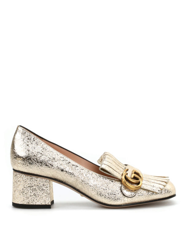 gucci mokassins slippers fur damen gold mokassins und slippers 408208 dkt00 7100. Black Bedroom Furniture Sets. Home Design Ideas