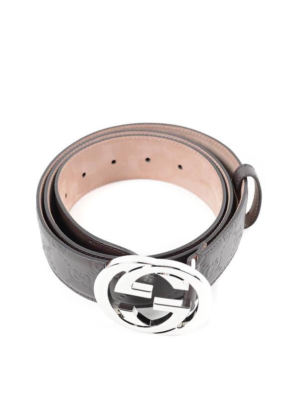 GUCCI: belts online - Embossed GG belt