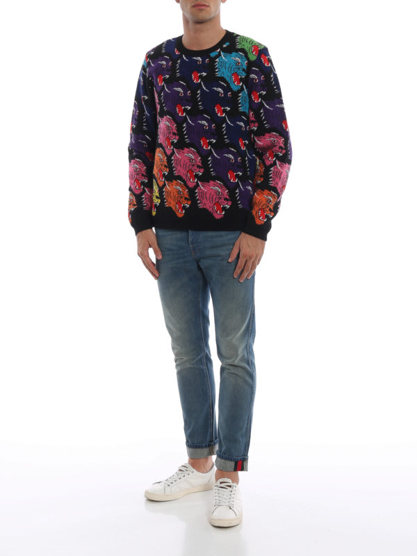 GUCCI: crew necks online - Rainbow panther face intarsia wool sweater