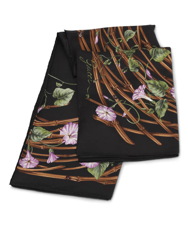 GUCCI: scarves online - Bamboo flower print scarf