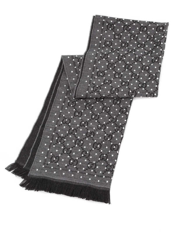 GUCCI: scarves online - GG jacquard wool scarf with studs