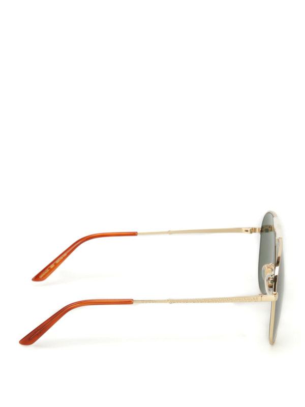 GUCCI: sunglasses online - Golden metal aviator sunglasses
