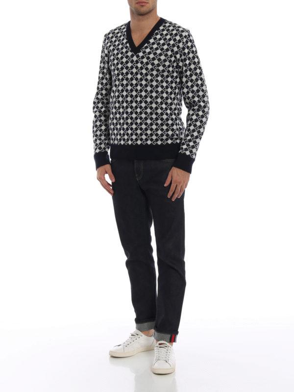 GUCCI: Strickpullover mit V-Ausschnitt online - V-Pullover - Dunkelblau