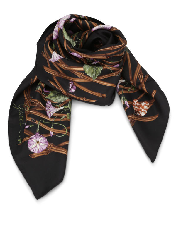 GUCCI: scarves - Bamboo flower print scarf
