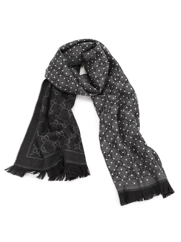 Gucci: scarves - GG jacquard wool scarf with studs