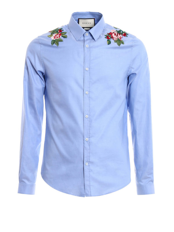 Gucci: shirts - Duke embroidered cotton shirt