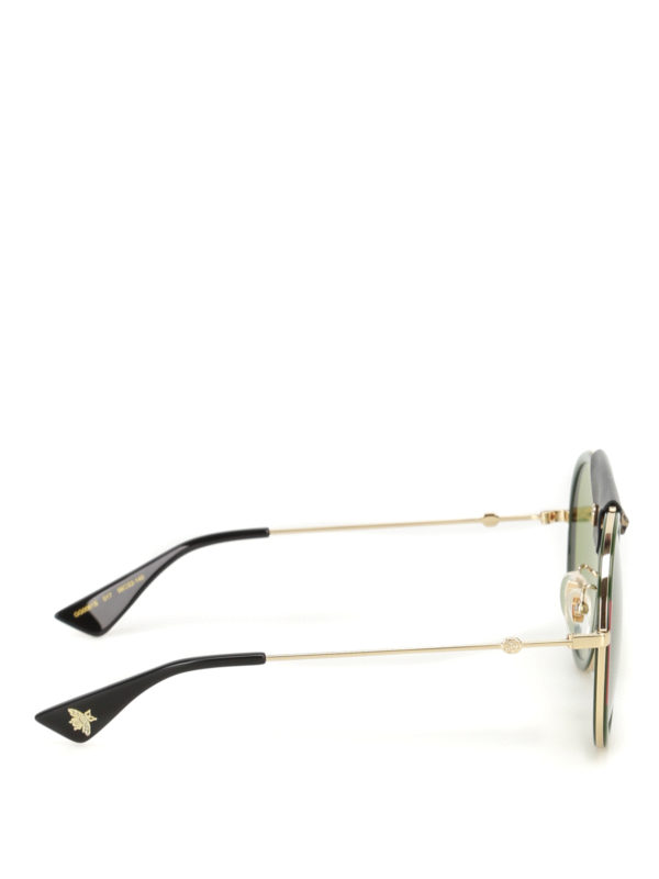 Gucci: sunglasses online - Leather detailed rounded sunglasses