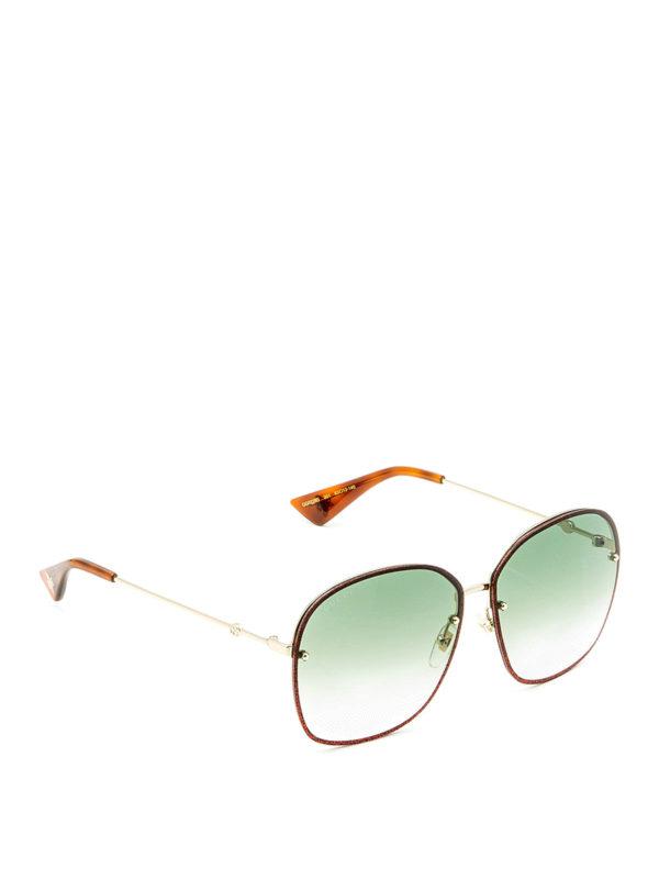 Gucci: Gafas de sol - Gafas De Sol - Rojo Oscuro