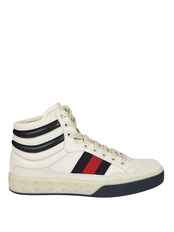 Gucci: trainers - High-top Web detailed sneakers
