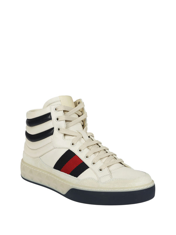 Gucci: trainers online - High-top Web detailed sneakers
