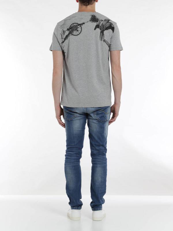 Harness print t-shirt shop online: ALEXANDER MCQUEEN