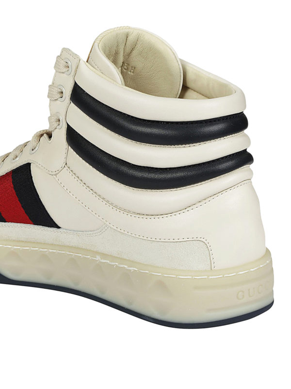 High-top Web detailed sneakers shop online: Gucci
