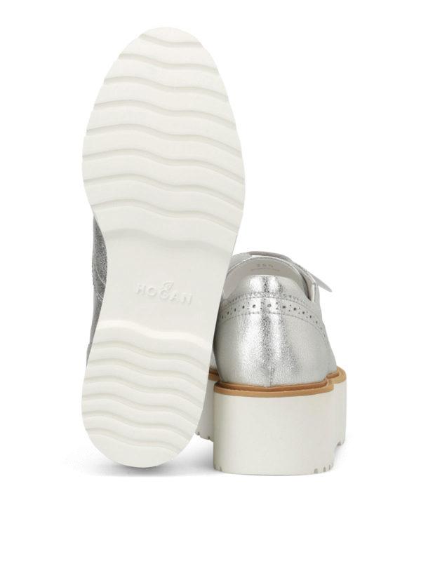 HOGAN buy online H355 metallic leather Derby shoes