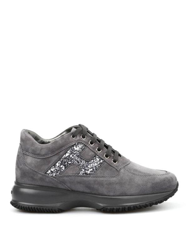 Hogan: Sneaker - Sneaker Fur Damen - Dunkelgrau