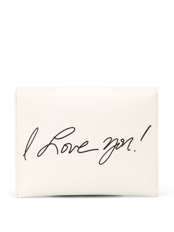 I Love You leather clutch shop online: MOSCHINO