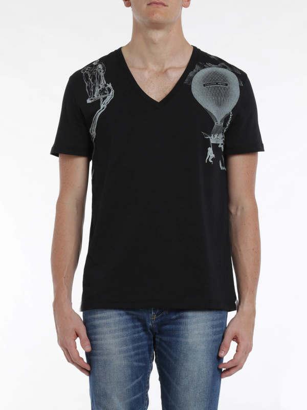 iKRIX Alexander Mcqueen: T-shirts - Harness print t-shirt