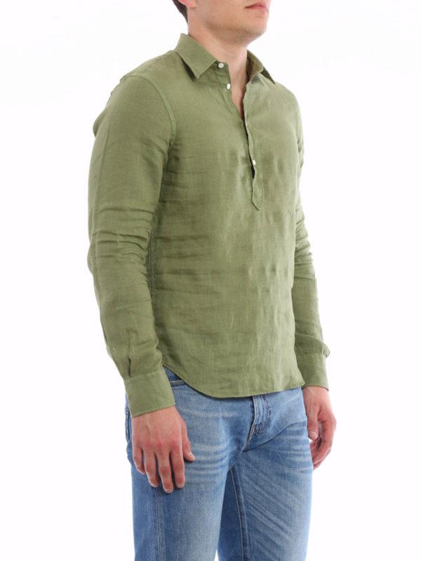 iKRIX ASPESI: shirts - Linen polo-inspired shirt