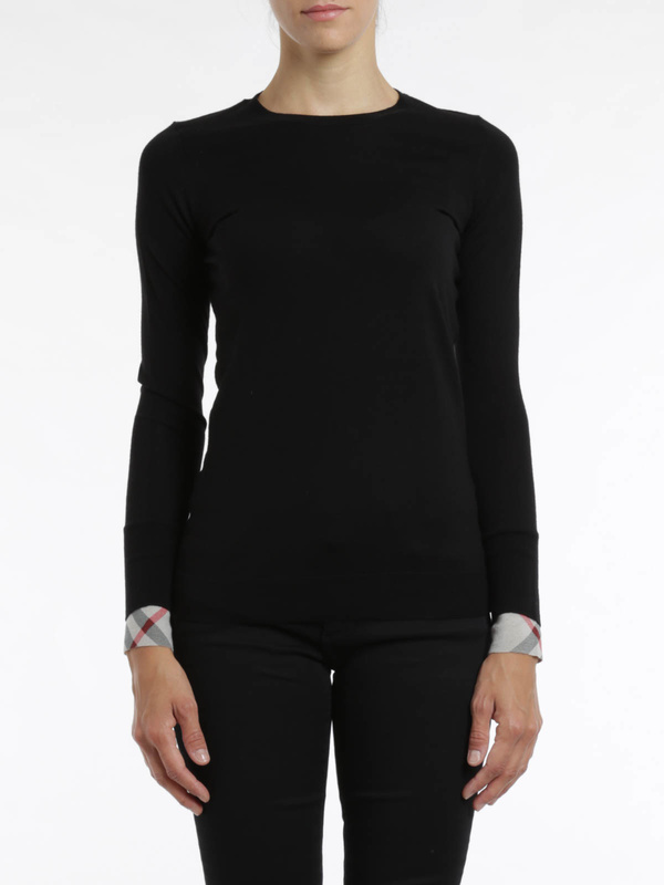 iKRIX Burberry Brit: crew necks - Check cuff wool Top