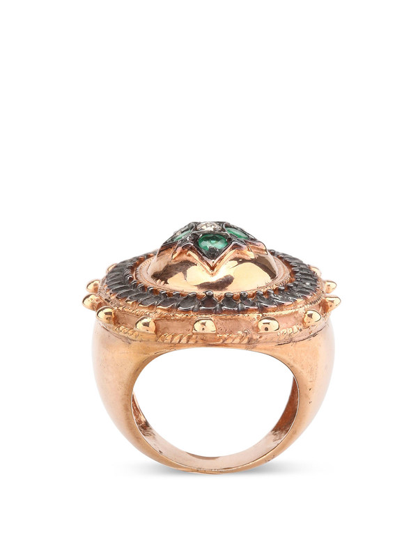 iKRIX De Maria: rings - Silver ring with emeralds and diamonds