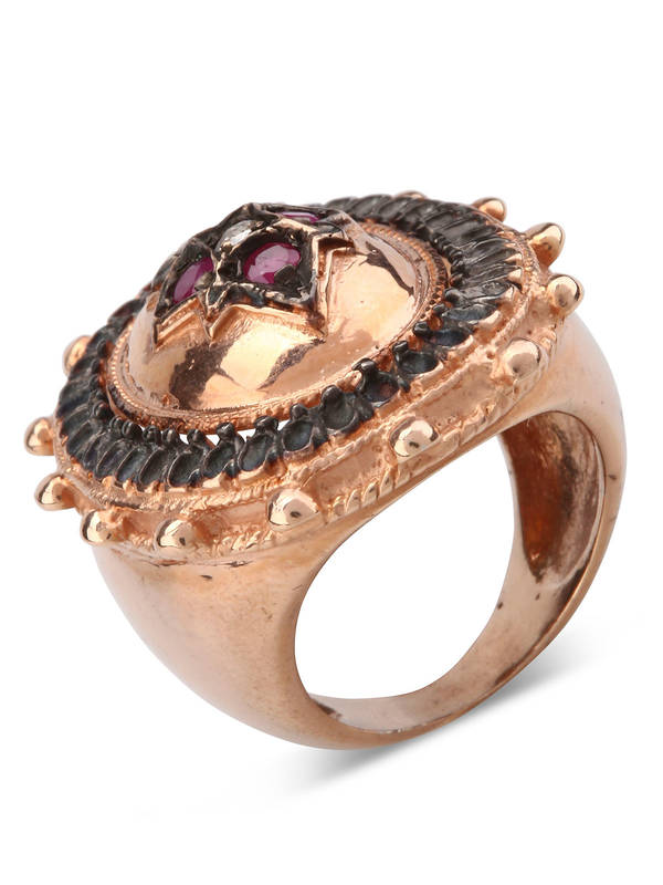 iKRIX De Maria: rings - Silver ring with rubies and diamonds