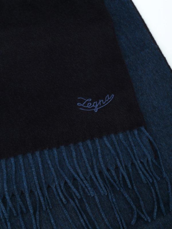 iKRIX ERMENEGILDO ZEGNA: scarves - Double face blue silk fringed scarf