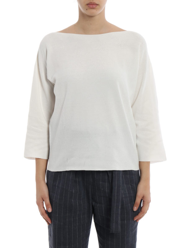 iKRIX FABIANA FILIPPI: boat necks - White rice stitch cotton sweater