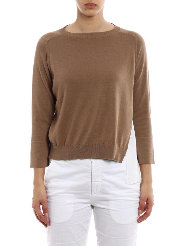 iKRIX FABIANA FILIPPI: crew necks - Silk panelled cotton sweater
