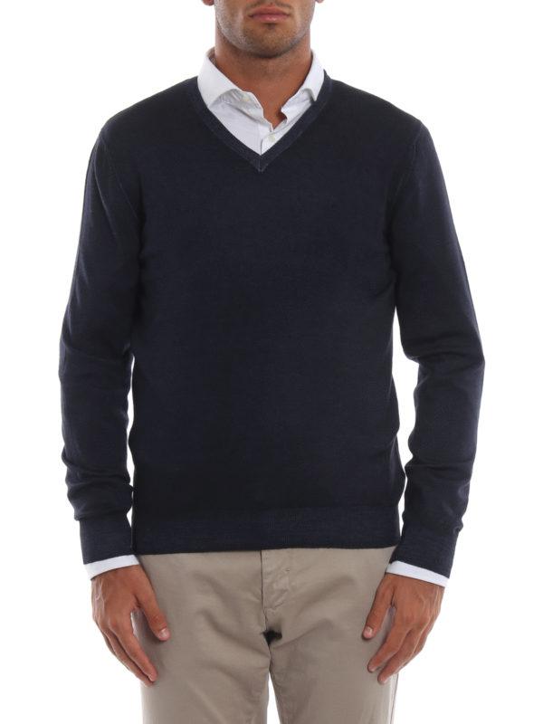iKRIX FAY: v necks - Dark blue virgin wool V-neckline pullover