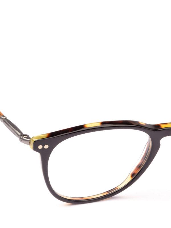 iKRIX GIORGIO ARMANI: Glasses - Black and havana panto eyeglasses