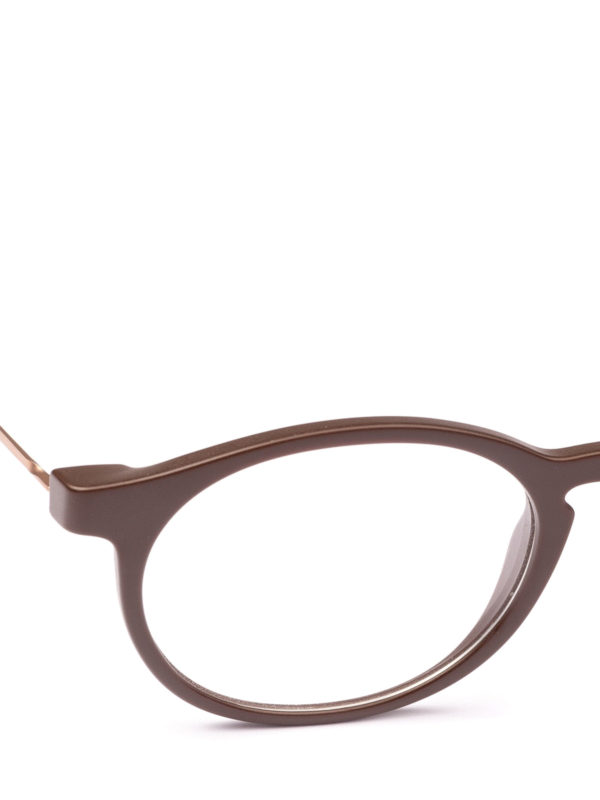 iKRIX GIORGIO ARMANI: Glasses - Matte brown acetate panto eyeglasses