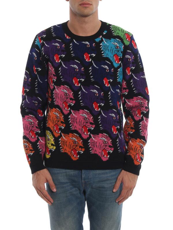 iKRIX GUCCI: crew necks - Rainbow panther face intarsia wool sweater