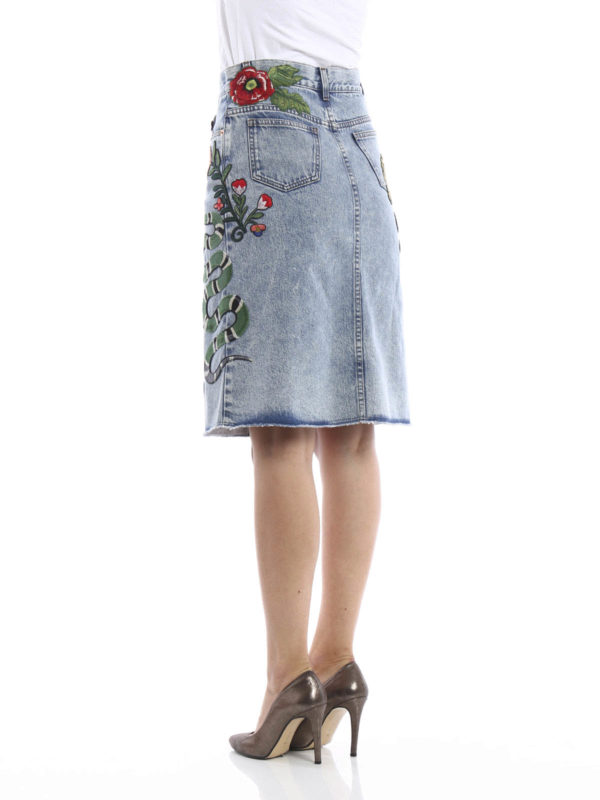 iKRIX Gucci: Knee length skirts & Midi - Embroidered washed  denim skirt