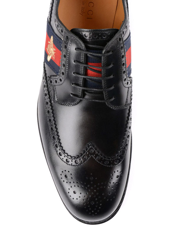 iKRIX Gucci: lace-ups shoes - Bee Web brushed leather brogues