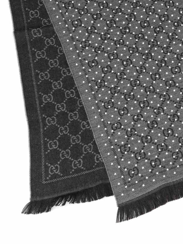 iKRIX Gucci: scarves - GG jacquard wool scarf with studs