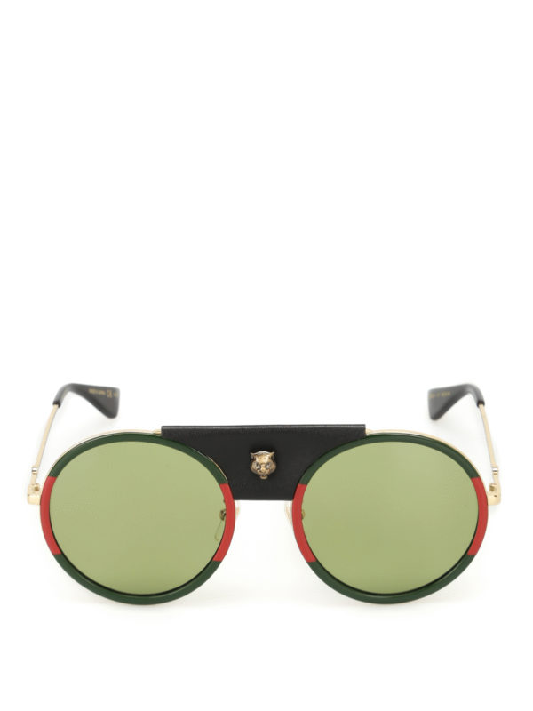 iKRIX GUCCI: sunglasses - Leather detailed rounded sunglasses