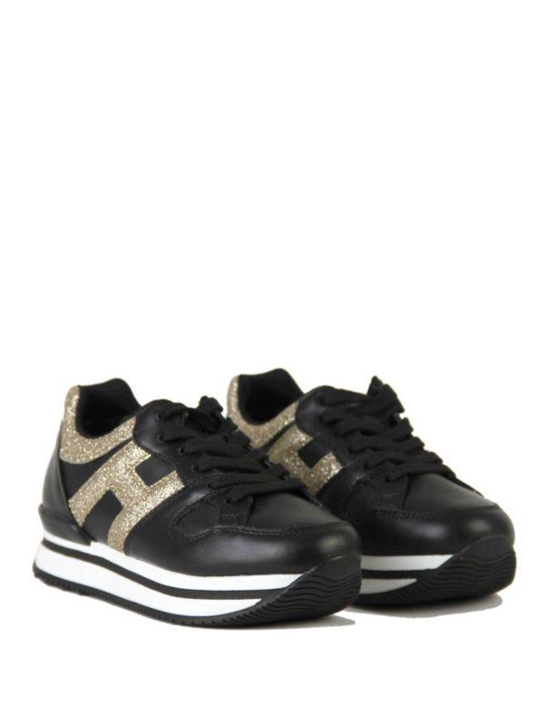 Hogan Junior - Junior Sneakers H222 in black and gold - trainers ...