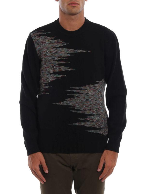 iKRIX MISSONI: crew necks - Patterned intarsia black wool sweater