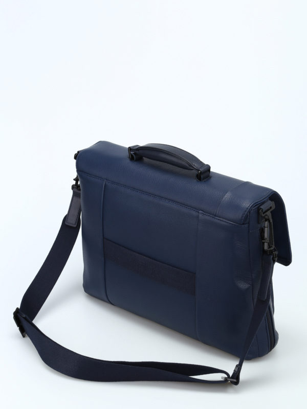 iKRIX PIQUADRO: laptop bags & briefcases - Blue nappa laptop/ iPad briefcase