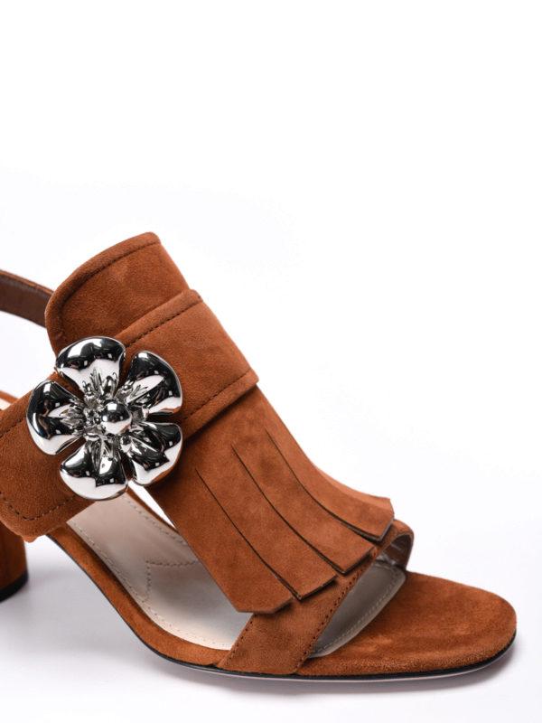 iKRIX Prada: sandals - Flower detail fringe suede sandals