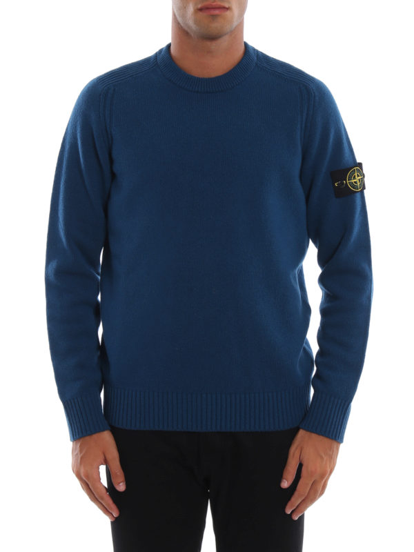 iKRIX STONE ISLAND: crew necks - Blue green knit wool blend sweater