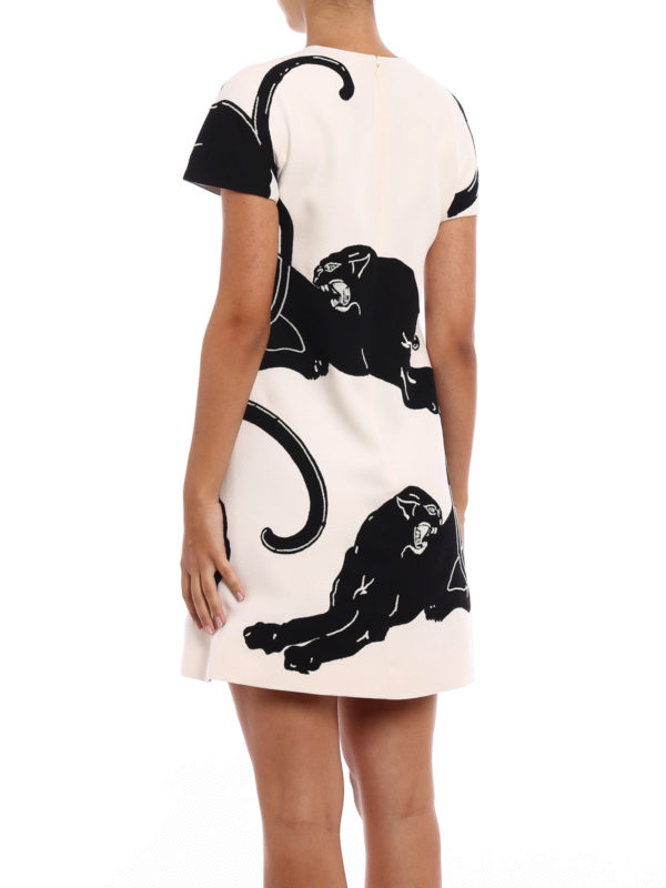 iKRIX VALENTINO: short dresses - Wool and silk dress with panthers